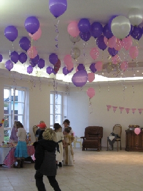 Balloons with helium as a ceiling decoration