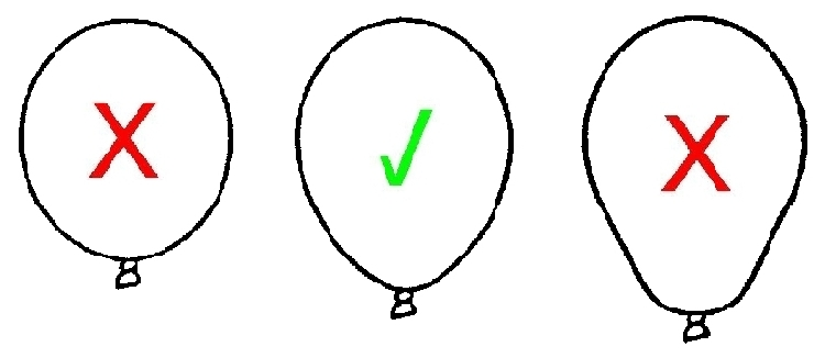 Correct size of latex balloons