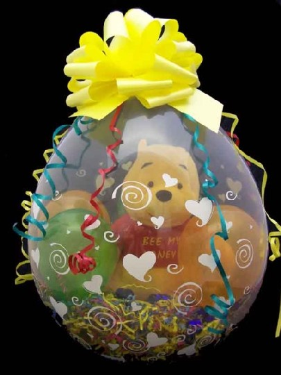 Birthday And First Winnie The Pooh In Balloon Gift Wrap